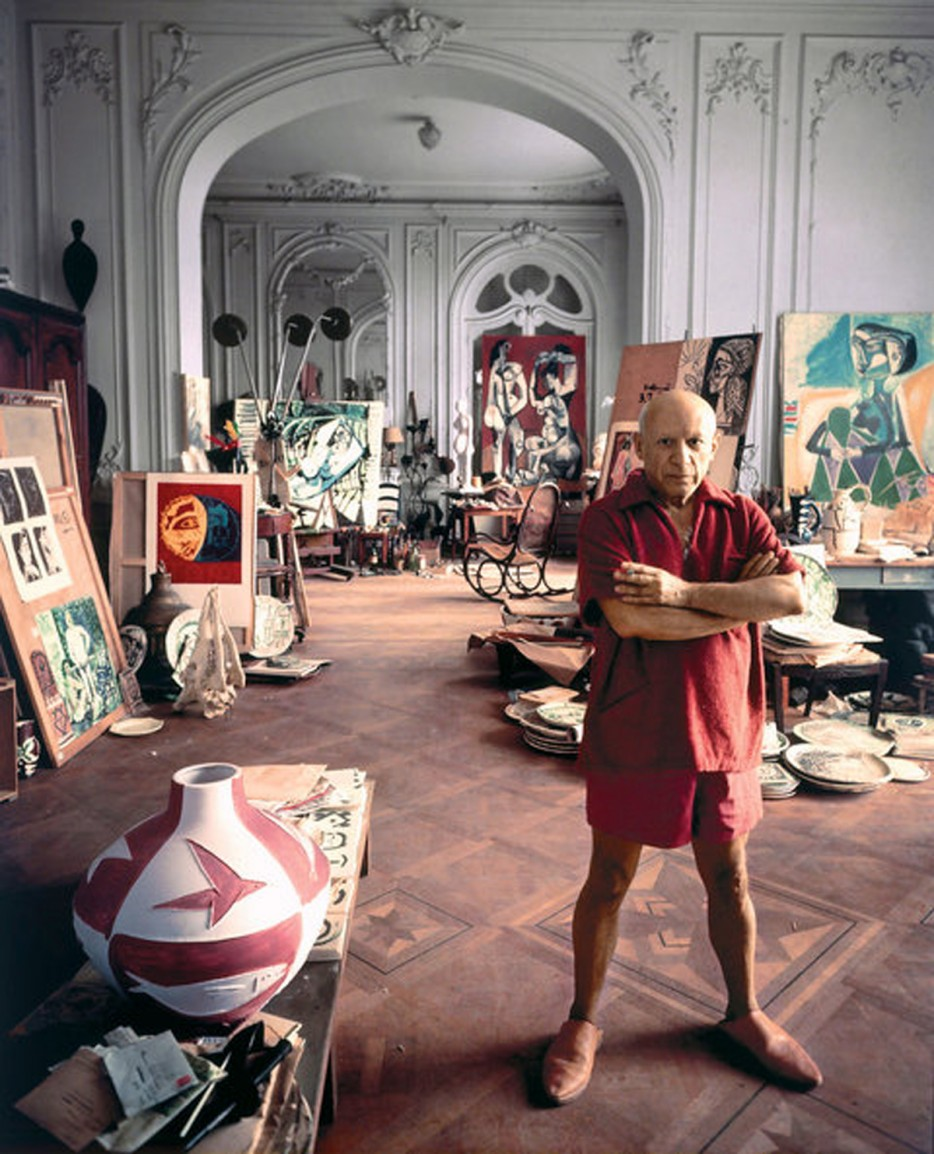 Pablo Picasso at his home studio