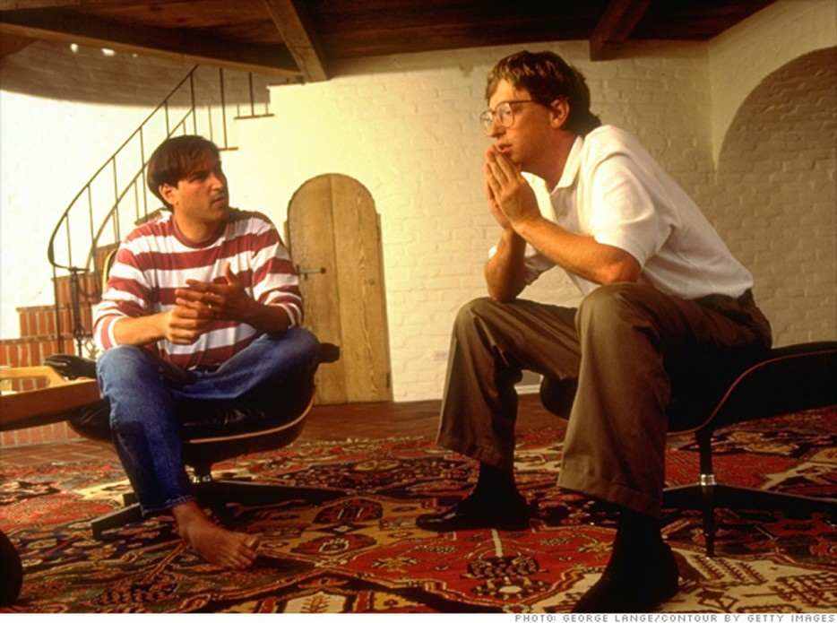 Steve Jobs and Bill Gates discuss the future of the PC at Jobs' Palo Alto home. [1991]
